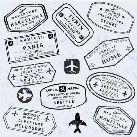 Travel Briefmarken Hintergrund. Fiktiven internationalen Flughafen Symbolen.