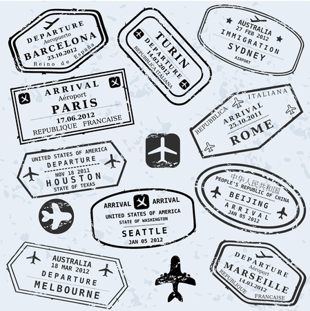 stamp collection: Travel stamps background. Fictitious international airport symbols.
