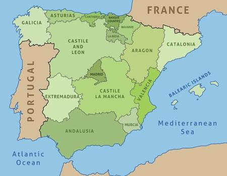 Kaart van Spanje. Schets illustratie landkaart autonome gemeenschappen. Stock Illustratie
