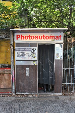BERLIN, GERMANY - AUGUST 26, 2014: Typical photo booth in Wrangelkiez area of Kreuzberg district in Berlin. Photoautomats of Berlin are among its most typical tourism attractions. Editorial