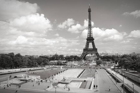 white color: Trocadero Gardens in Paris, France. Black and white toned photo.