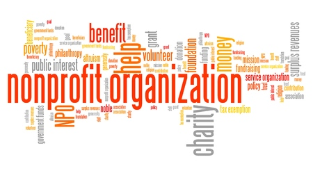 philanthropy: Nonprofit organizations issues and concepts word cloud illustration. Word collage concept.