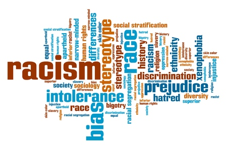 social issues: Racism - social issues and concepts word cloud illustration. Word collage concept.