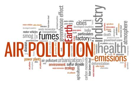 contaminacion aire: La contaminaci�n del aire - las cuestiones ambientales y conceptos palabra nube ilustraci�n. Collage concepto Palabra.