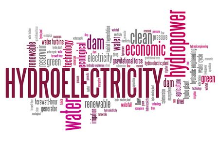 hydroelectricity: Hydroelectricity - alternative energy issues and concepts word cloud illustration. Word collage concept.