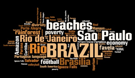 to keyword: Brazil word cloud illustration. Tag cloud keyword concept. Stock Photo