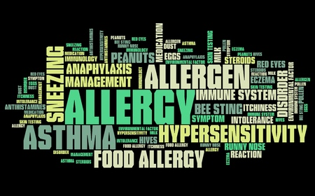 health collage: Allergy - health concepts word cloud illustration. Word collage concept.