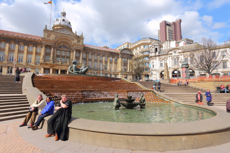 census: BIRMINGHAM, UK - APRIL 19, 2013: People visit Victoria Square in Birmingham. Birmingham is the most populous British city outside London with 1,074,300 residents (2011 census).