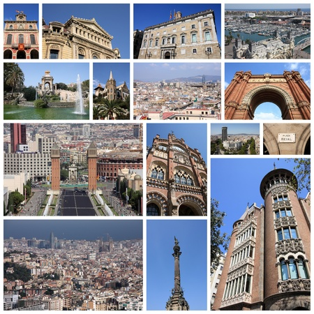 espanya: Barcelona, Spain photo collage. Collage includes major landmarks like Placa Espanya, Barceloneta and Parliament of Catalonia.