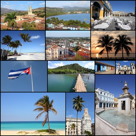 Cuba photos collage - travel memories photo collection. Images of Havana, Trinidad, Baracoa and Caribbean beaches.