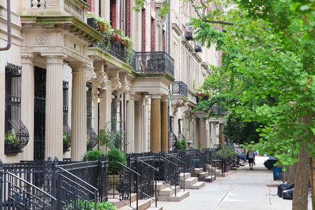 New York City, United States - old townhouses in Upper West Side neighborhood in Manhattan.