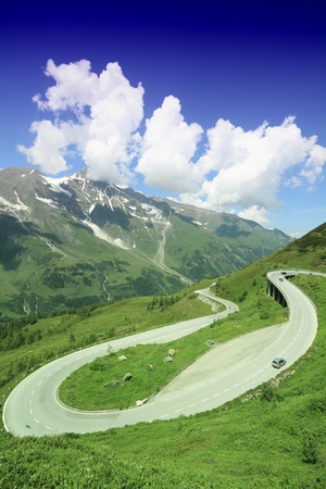 hochalpenstrasse: National Park in Austria - road in Hohe Tauern mountains. Filtered style colors.
