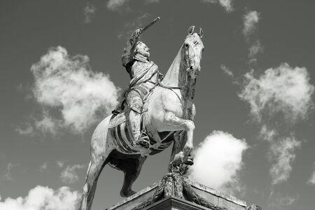 adolf: Stockholm, Sweden - equestrian statue of Gustav II Adolf, king of Sweden. Black and white tone - retro monochrome style.
