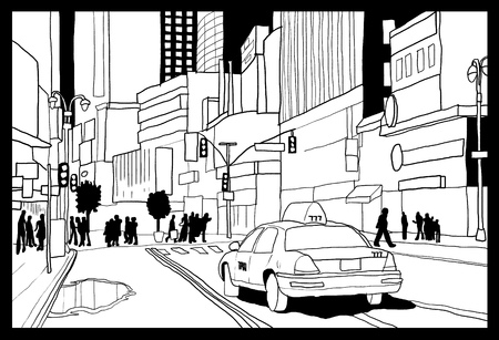 タイムズ ・ スクエアのスケッチ - ニューヨーク市の図。