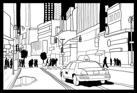 Times Square sketch - New York City illustration. Vettoriali
