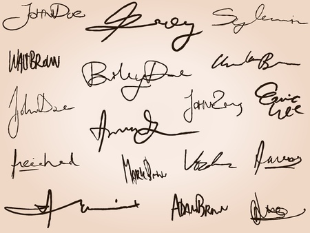 signatures: Collection of handwritten signatures. Personal contract fictitious signature set. Illustration