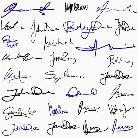 Collection of handwritten signatures. Personal contract fictitious signature set. Stock Illustratie