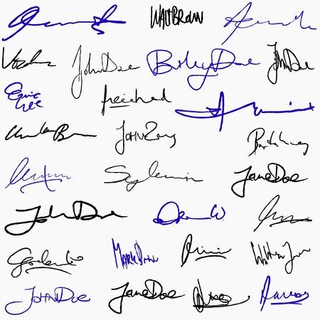 Het verzamelen van handgeschreven handtekeningen. Persoonlijke contract fictieve handtekening set.