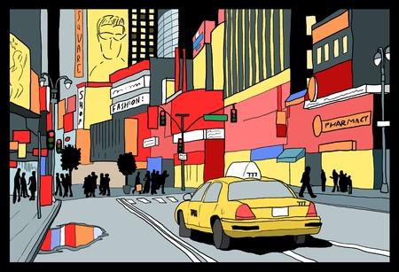 タイムズ ・ スクエアの夜景 - ニューヨーク市の図。