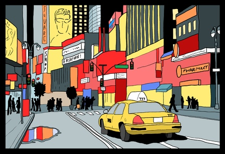 Times Square night view - New York City illustration. Ilustração