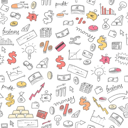 Money background - seamless doodle style illustration. Investment, financial and business symbols.