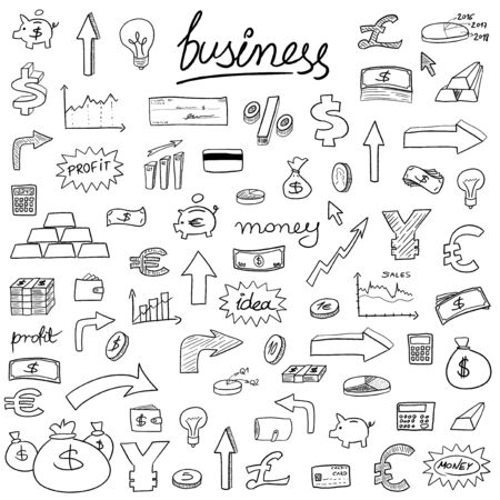 Business icons - doodle style illustration with money, currencies and finance object symbols. Vector
