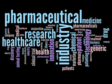 word collage: Pharmaceutical industry and medicine word cloud illustration. Word collage concept.