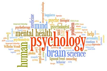 psicologia: Cuestiones de psicolog�a y conceptos ilustraci�n nube de palabras. Collage concepto Palabra. Foto de archivo