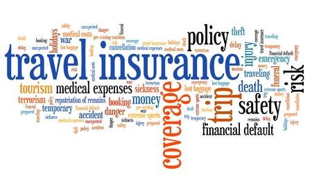保険の問題や概念単語雲図を旅行します。単語のコラージュの概念。