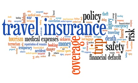 accident rate: Travel insurance issues and concepts word cloud illustration. Word collage concept.
