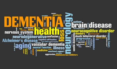 aging brain: Dementia - health concepts word cloud illustration. Word collage concept.