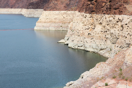 depletion: Drought in the USA. Low level of Lake Mead (border of Arizona and Nevada).