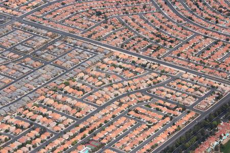 Suburbia in de VS - de woonwijken in Las Vegas, Nevada. Stockfoto