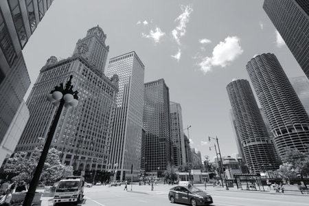chicago: CHICAGO, USA - JUNE 28, 2013: People visit downtown in Chicago. With 2.7 million residents, Chicago is the 3rd most populous city in the USA.