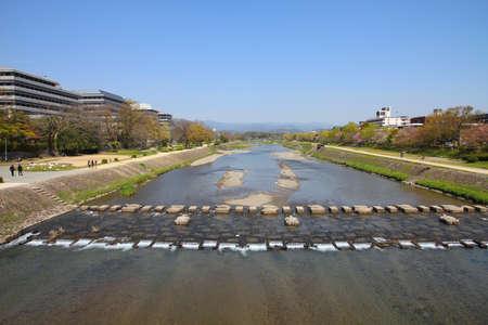 townscape: Kyoto, Japan - Kamo River townscape. Also known as Kamo-gawa. Stock Photo