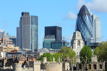 gherkin: London skyline, United Kingdom - cityscape with modern buildings