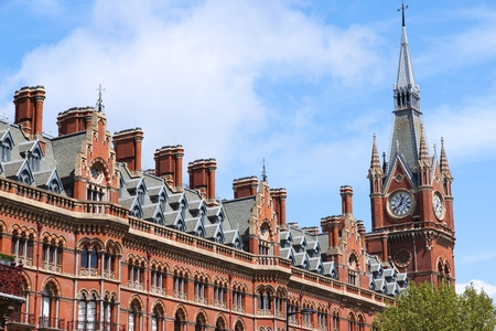 pancras: London St Pancras Railway Station - landmark in the Borough of Camden.