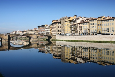 river arno: Florence, Italy - Old Town reflection in River Arno.