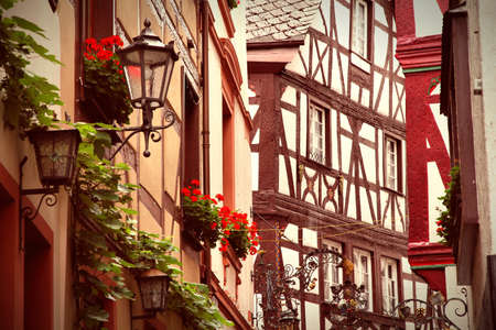 cross processed: Bernkastel-Kues, Germany - Old Town. Cross processed colors style - filtered tone retro image. Stock Photo