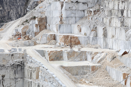 Carrara, Italy - marble quarry in Fantiscritti valley. Marble works of Miseglia. Apuan Alps mountains.
