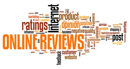 Online reviews - internet concepts word cloud illustration. Word collage.