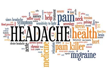 두통 - 고통 건강 개념 단어 구름 그림입니다. 콜라주를 단어 개념입니다. 스톡 콘텐츠