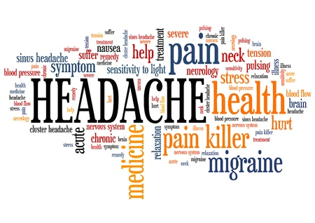 headache: Headache - pain health concepts word cloud illustration. Word collage concept.