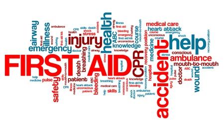 Eerste hulp - gezondheid concepten woord wolk illustratie. Word collage concept.