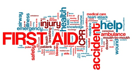 first help: First aid - health concepts word cloud illustration. Word collage concept. Stock Photo
