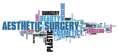 beauty surgery: Aesthetic surgery - beauty medicine. Word cloud concept.