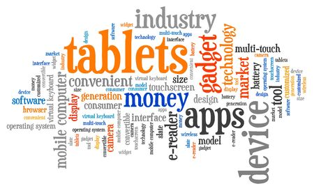 technology collage: Tablets - technology concepts word cloud illustration. Word collage. Stock Photo