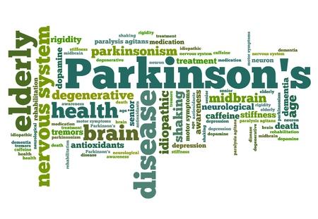 パーキンソン病の問題 - 健康の概念単語雲図。単語のコラージュの概念。