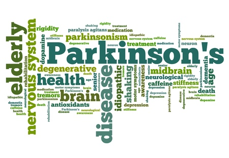 health collage: Parkinsons disease issues - health concepts word cloud illustration. Word collage concept.