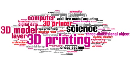 technology collage: 3D printing - technology concepts word cloud illustration. Word collage.
